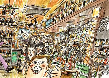 Man in the Moon Pub Gion illustration